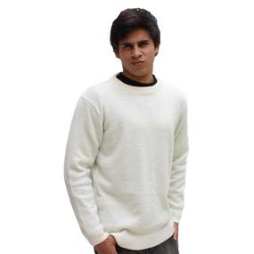 Men's Crewneck Alpaca Wool Sweater Size XXL Ivory