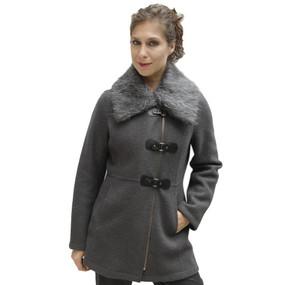Women's Alpaca & Merino Wool Assymetric Zip Faux Fur Accent Coat Size L Gray