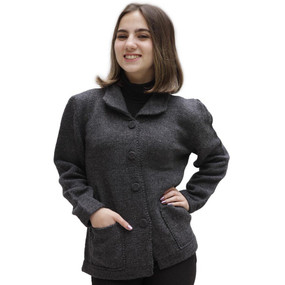 Women's Alpaca Wool Coat Size M Gray