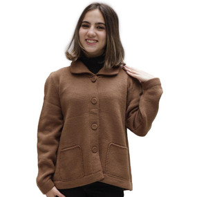 Women's Alpaca Wool Coat Size L Camel