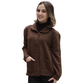 Women's Alpaca Wool Coat Size L Brown
