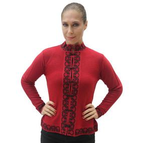 Womens 100% Baby Alpaca Wool Cardigan Sweater Size L Red