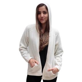 Hooded Alpaca Wool Jacket SZ M Ivory