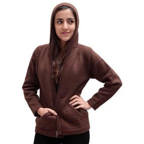 Hooded Alpaca Wool Jacket SZ L Brown