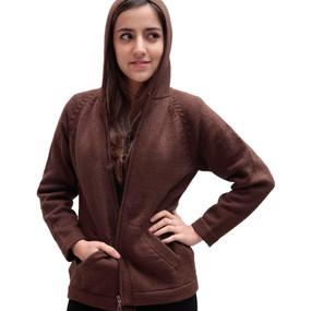 Hooded Alpaca Wool Jacket SZ XL Brown