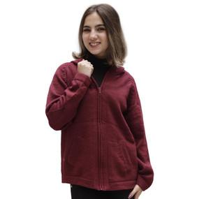 Hooded Alpaca Wool Jacket SZ L Wine Burgundy