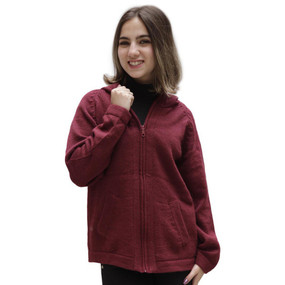 Hooded Alpaca Wool Jacket SZ XL Wine Burgundy