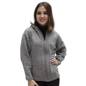 Hooded Alpaca Wool Jacket SZ XL Soft Gray