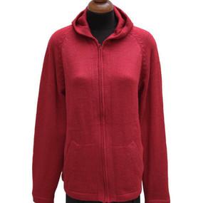 Hooded Alpaca Wool Jacket SZ L Red