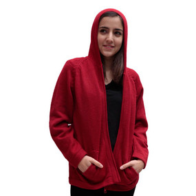 Hooded Alpaca Wool Jacket SZ M Red