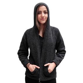 Hooded Alpaca Wool Jacket SZ L Charcoal Gray