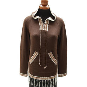 Inca Hooded Alpaca Wool Womens Sweater SZ XL Brown