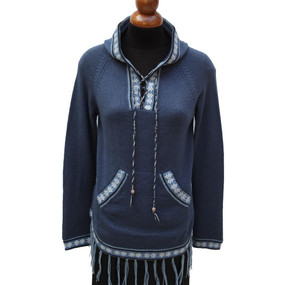 Inca Hooded Alpaca Wool Womens Sweater SZ S Steel Blue