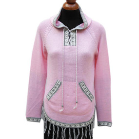 Inca Hooded Alpaca Wool Womens Sweater SZ L Pink