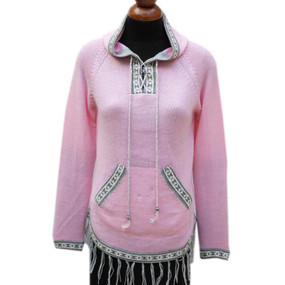 Inca Hooded Alpaca Wool Womens Sweater SZ M Pink