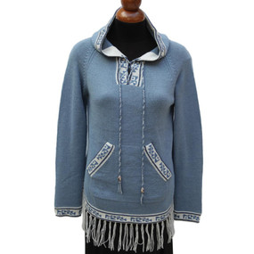 Inca Hooded Alpaca Wool Womens Sweater SZ L Light Blue