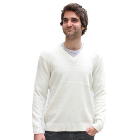 Men's Vneck Alpaca Wool Sweater Size 2XL Ivory