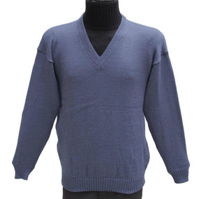 Vneck Alpaca Wool Sweater Steel Blue SZ M