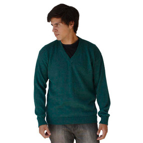 Mens Superfine Alpaca Wool Vneck Sweater SZ M Green