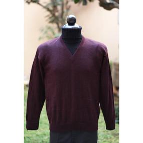 Vneck SUPER FINE ALPACA Wool Sweater~SZ M~Dark Wine Burgundy