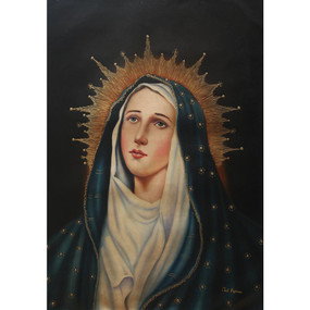 "Divine Virgin Mary Signed Oil Painting by Joel Espinoza 28""H x 20""W"