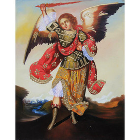 "Archangel Zadkiel Cuzco School Oil Painting On Canvas  10""H x 8""W"