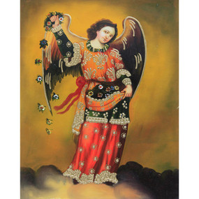 "Archangel Barachiel Cuzco School Oil Painting On Canvas  10""H x 8""W"