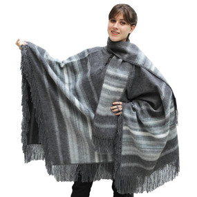 Ethnic Alpaca Wool Poncho & Scarf Gray One SZ