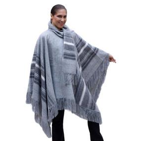 Ethnic Alpaca Wool Poncho Cloak with Scarf Gray One SZ