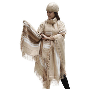 Fringed Alpaca Wool Woven Poncho with Matching Scarf & Beret Beige One SZ