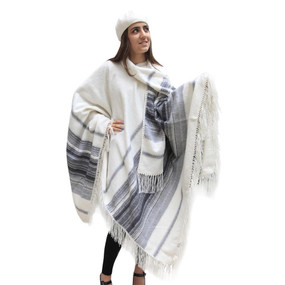 Fringed Alpaca Wool Woven Poncho with Matching Scarf & Beret Ivory One SZ
