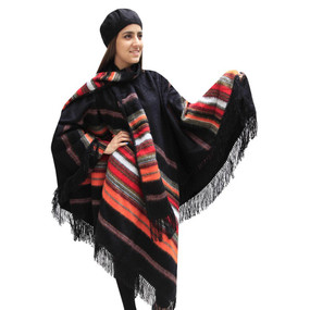 Fringed Alpaca Wool Woven Poncho with Matching Scarf & Beret Black One SZ