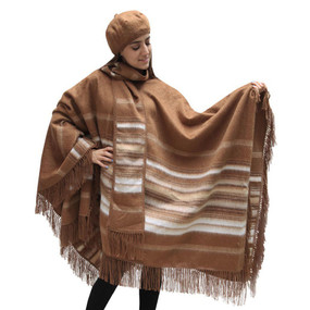 Fringed Alpaca Wool Woven Poncho with Matching Scarf & Beret Camel One SZ