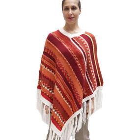 Womens Superfine Alpaca & Merino Wool Embroidered Poncho One Sz