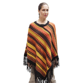 Womens Superfine Alpaca & Merino Wool Embroidered Poncho One Sz