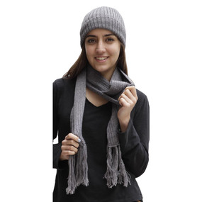 Superfine Alpaca Wool Beanie Hat & Scarf Set Gray