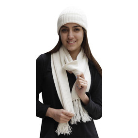 Superfine Alpaca Wool Beanie Hat & Scarf Set Ivory