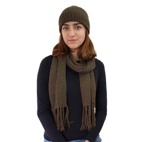 Superfine Alpaca Wool Beanie & Scarf Brown (33-014-00737)