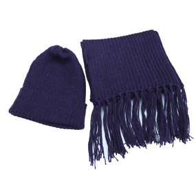 Superfine Alpaca Wool Beanie Hat & Scarf Set Purple