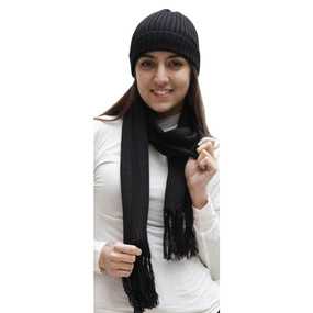Superfine Alpaca Wool Beanie Hat & Scarf Set Black