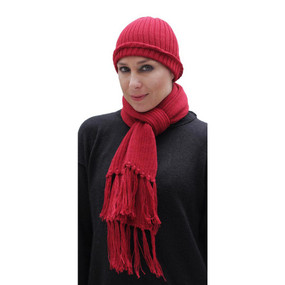 Superfine Alpaca Wool Beanie Hat & Scarf Set Red