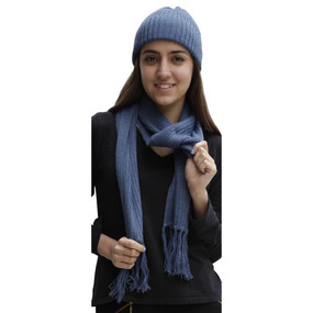 Superfine Alpaca Wool Beanie Hat & Scarf Set Blue
