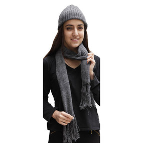 Superfine Alpaca Wool Beanie Hat & Scarf Set Charcoal Gray