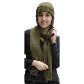 Superfine Alpaca Wool Beanie Hat & Scarf Set Leaf Green
