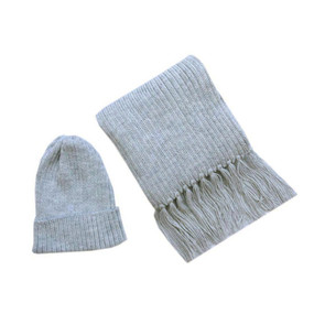 Superfine Alpaca Wool Beanie Hat & Scarf Set Silver Gray