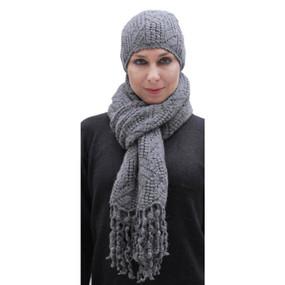 Superfine Hand Knitted Alpaca Wool Beanie Hat & Chunky Scarf Gray