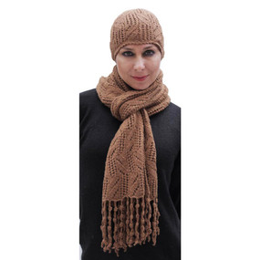 Superfine Hand Knitted Alpaca Wool Beanie Hat & Chunky Scarf Camel
