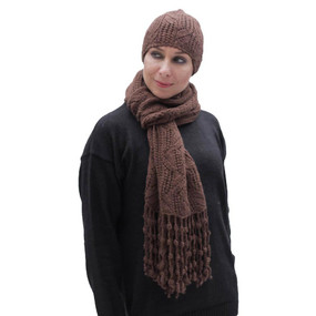 Superfine Hand Knitted Alpaca Wool Beanie Hat & Chunky Scarf Brown
