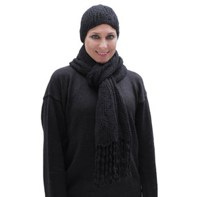 Superfine Hand Knitted Alpaca Wool Beanie Hat & Chunky Scarf Black
