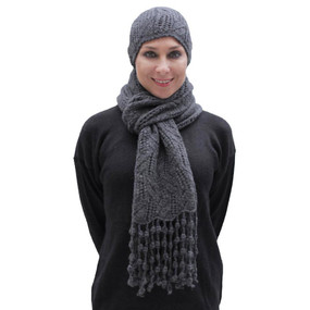 Superfine Hand Knitted Alpaca Wool Beanie Hat & Chunky Scarf Charcoal Gray